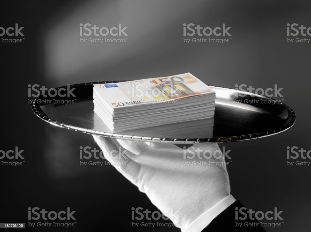 Euros with First Class Service royalty-free stock photo