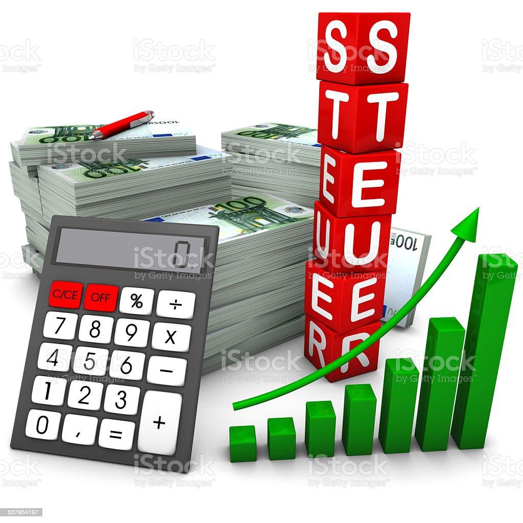 Euroscheine Steuer stock photo