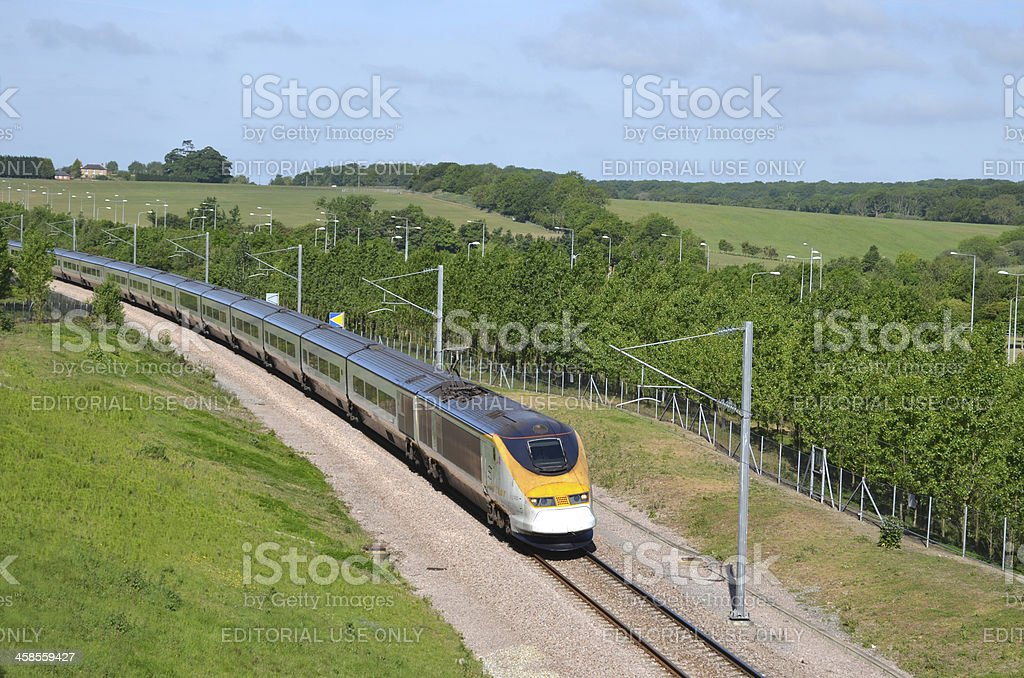 Eurostar train approaching the Channel Tunnel stock photo