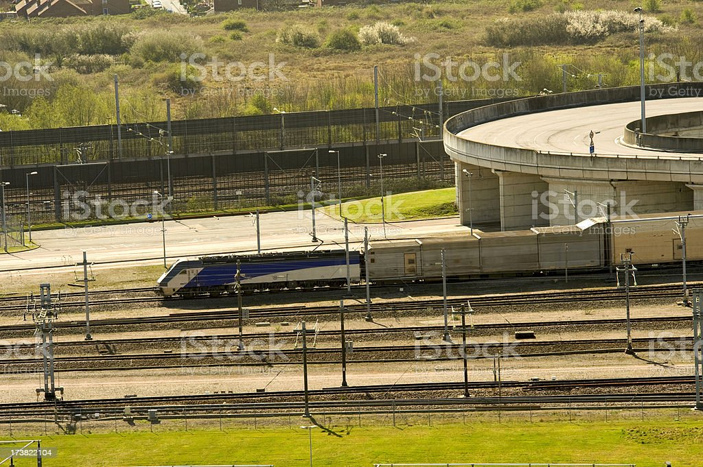 Eurotunnel - Channel Tunnel train heading from Folkestone terminal stock photo