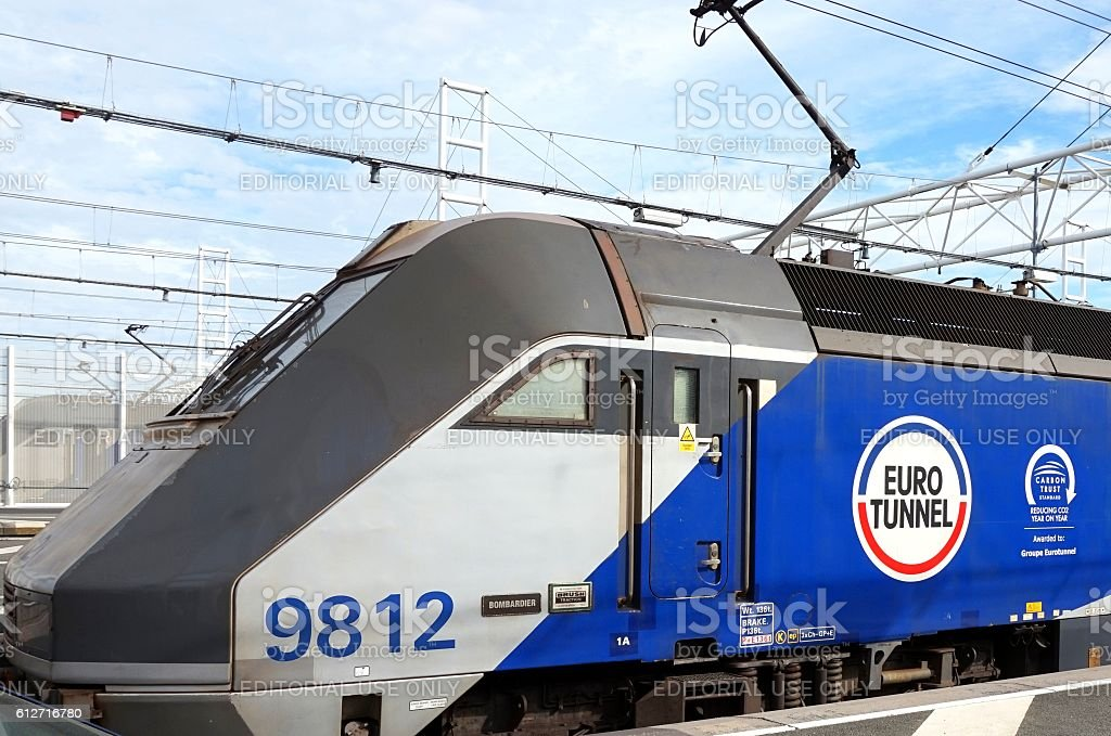 Eurotunnel locomotive 9812 'Bombadier' waiting to leave France to Folkestone stock photo