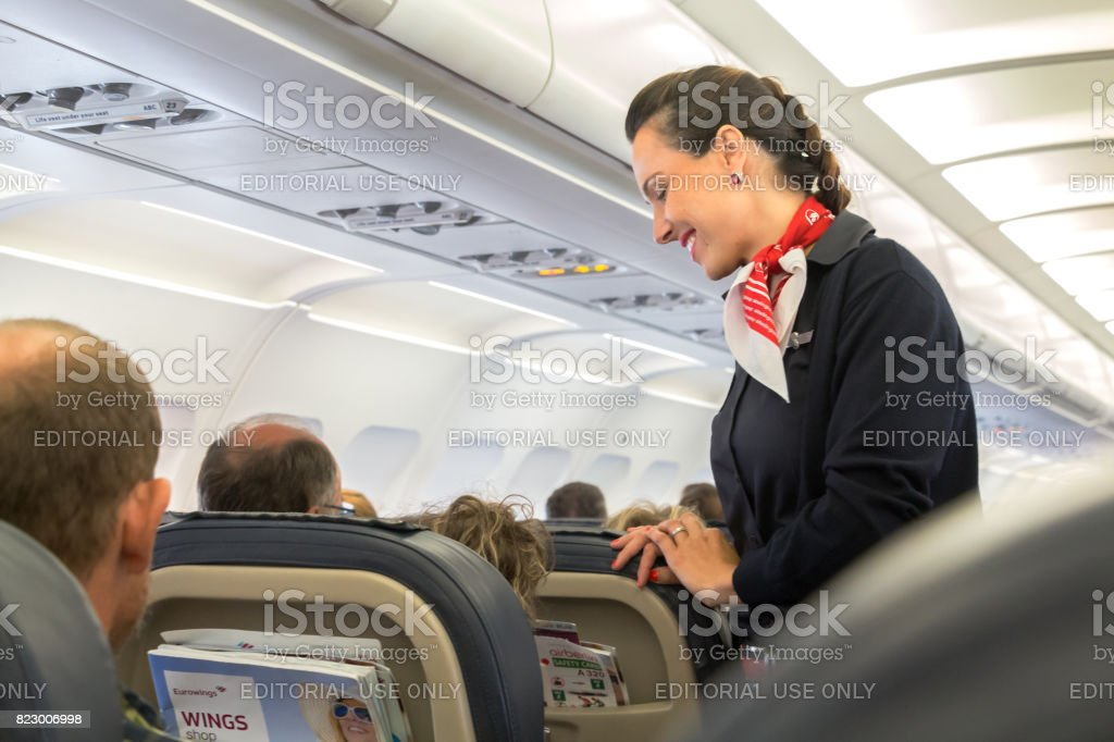 Eurowings flight attendant stock photo