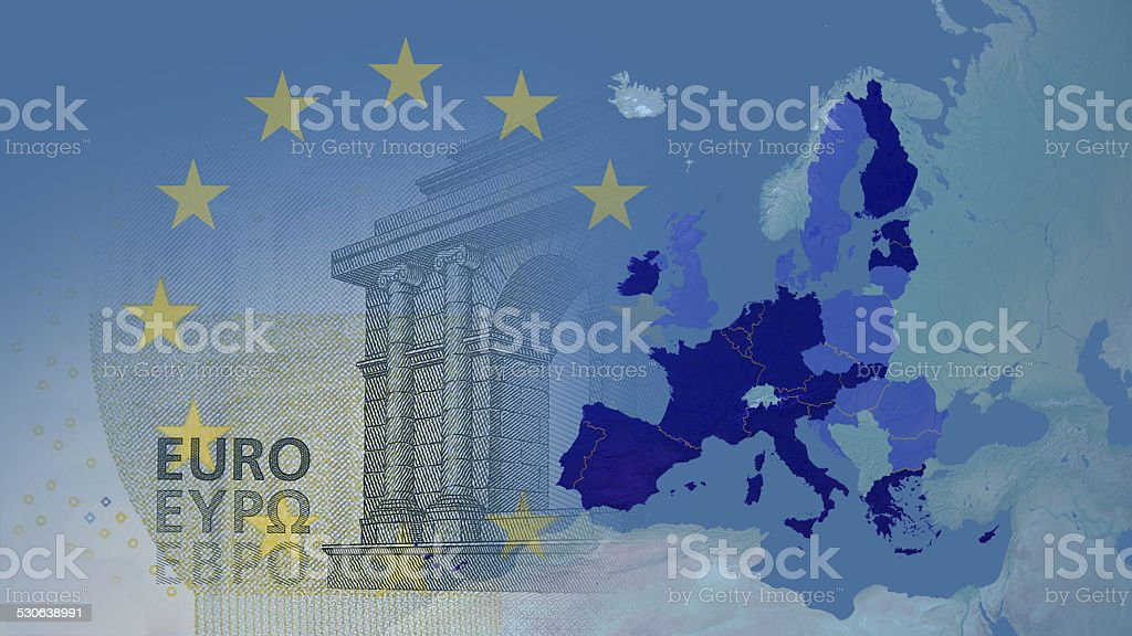 Eurozone 2014  16:9 with borders between members stock photo