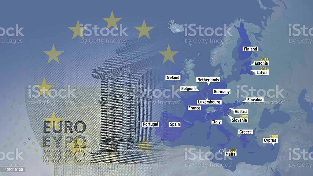 Eurozone 2014  with membernames and joining years 16:9 stock photo