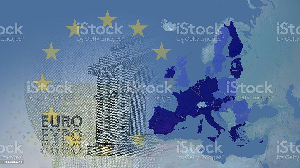Eurozone 2015  16:9 with borders stock photo