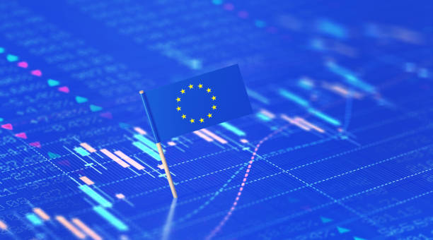 Eurozone Finance And Stock Market Concept - EU Flag Sitting Over Blue Financial Chart EU flag sitting over blue financial chart. Horizontal composition with selective focus and copy space. Eurozone finance and stock market concept. euro area stock pictures, royalty-free photos & images
