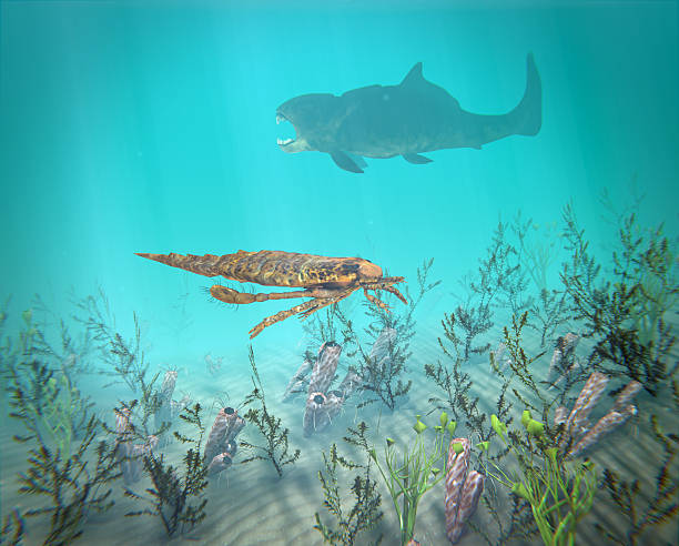 Eurypterus And Dunkleosteus In The Devonian Sea stock photo