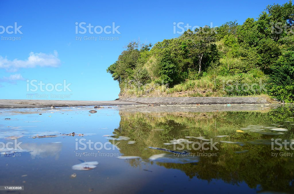 eutrophic water and sand bank with rocky terrace stock photo