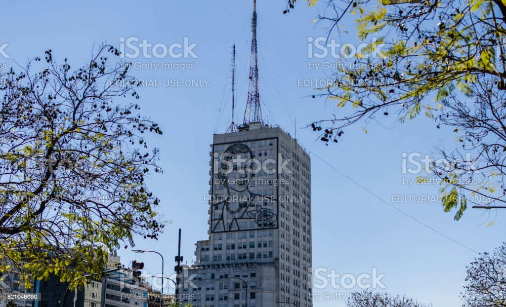 Eva Peron, or Evita, image on a building in the center of Buenos Aires stock photo