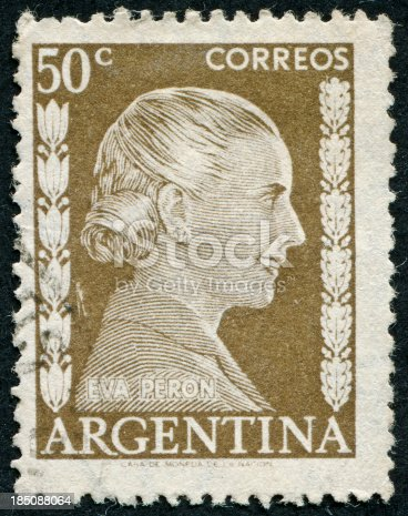 Cancelled Stamp From Argentina Featuring Eva Peron.