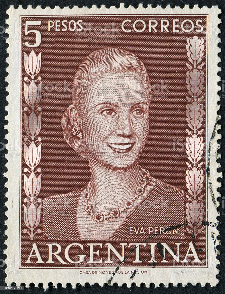 Eva Peron Stamp royalty-free stock photo