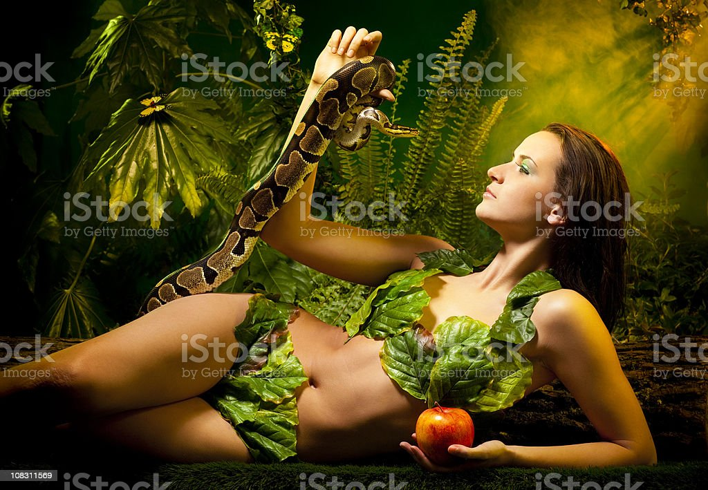 Eva Serpent and Apple stock photo