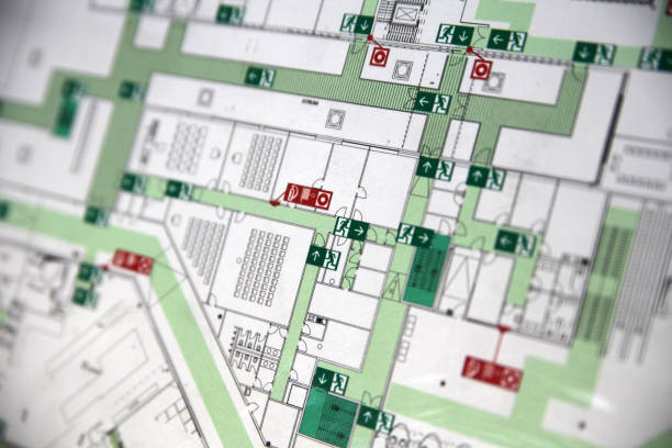 Evacuation plan macro macro crop shot of evacuation plan with emergency exits bailout stock pictures, royalty-free photos & images