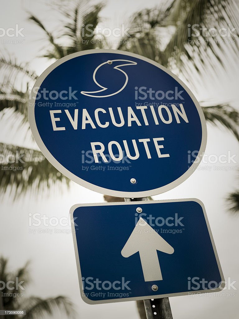 Evacuation Route sign in Florida royalty-free stock photo