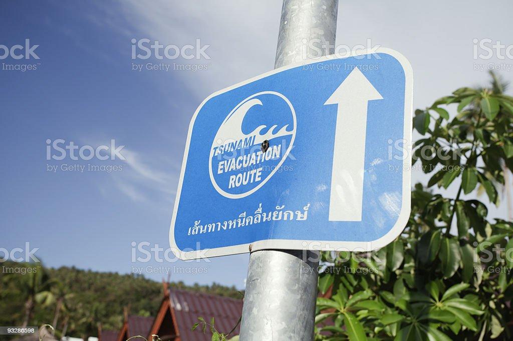 Evacuation route sign in Phuket Island royalty-free stock photo