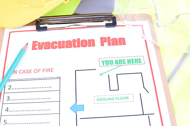 Evacuation Safety Plan stock photo