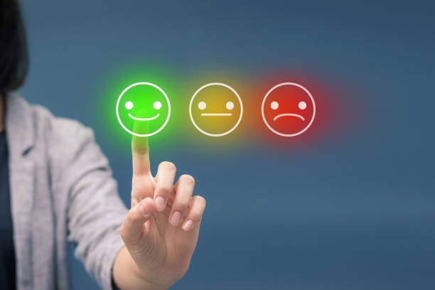 Evaluating customer service satisfaction. stock photo