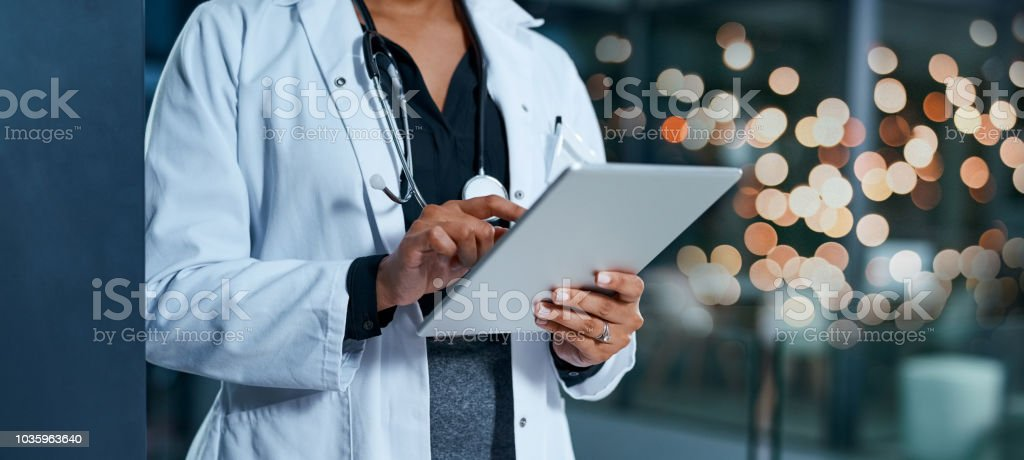 Evaluating healthcare reports stock photo