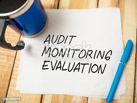 1128693163 istock photo Evaluation, Business Audit Monitoring Motivational Words Quotes Concept 1060966010