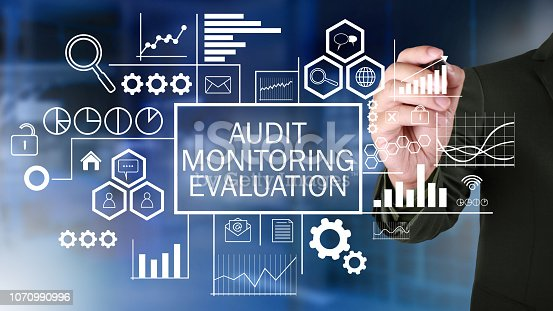1128693163 istock photo Evaluation, Business Audit Monitoring Motivational Words Quotes Concept 1070990996