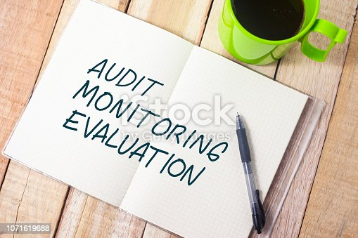 1128693163 istock photo Evaluation, Business Audit Monitoring Motivational Words Quotes Concept 1071619688