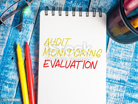 1128693163 istock photo Evaluation, Business Audit Monitoring Motivational Words Quotes Concept 1079476980