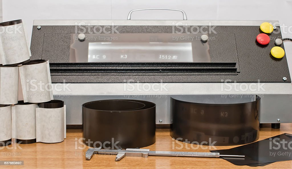 Evaluation of conformity of x-ray images of welds of pipelines stock photo