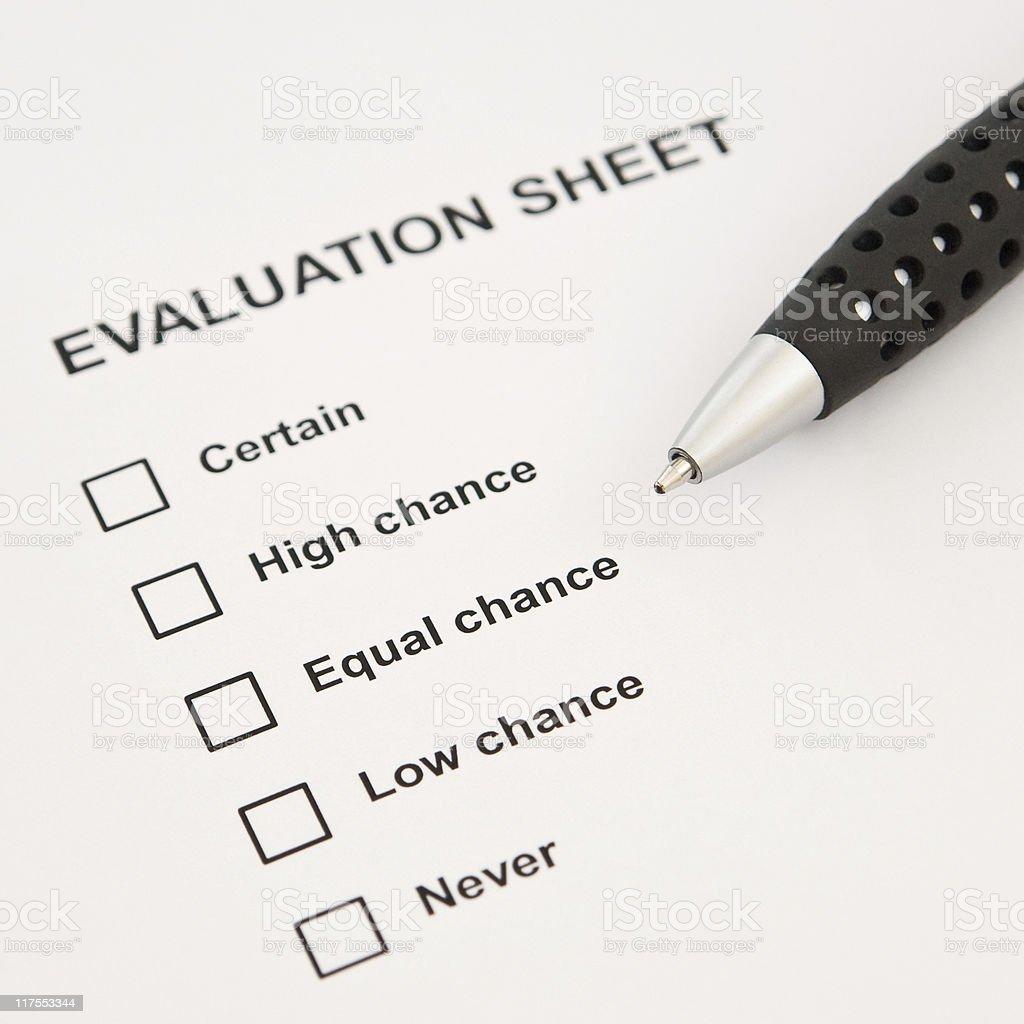 Evaluation sheet royalty-free stock photo
