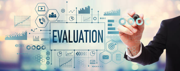 Evaluation with businessman stock photo
