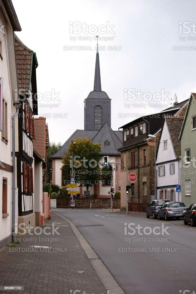 Evangelical Church Bischofsheim stock photo