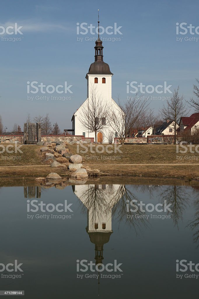Evangelical church in the village of Neu Horno, Germany. stock photo