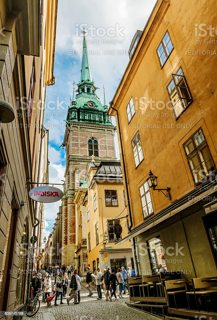 Evangelical Lutheran German Church in the 'Old town' in Stockhol stock photo