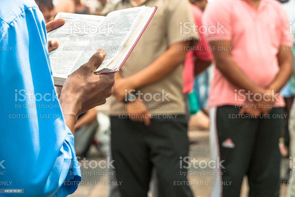 evangelical preacher stock photo