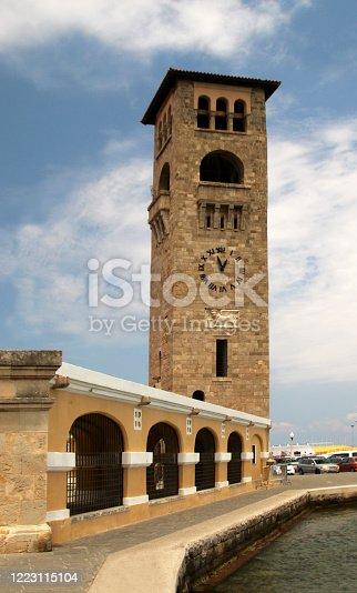 istock Evangelismos Church, Bell Tower, Rhodes, Mandraki harbour, Greece 1223115104