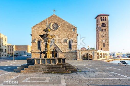 istock Evangelismos church in Rhodes, Greece 1175238369
