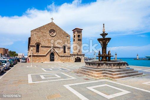 istock Evangelismos Church in Rhodes island in Greece 1010201674