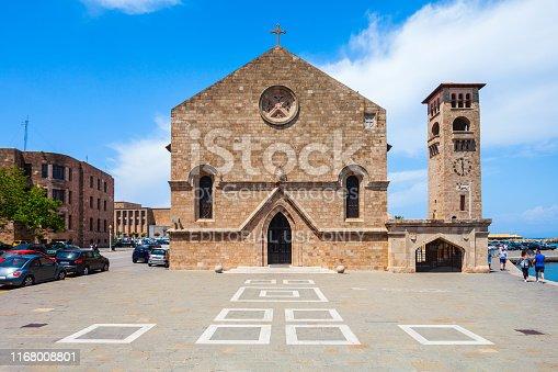 istock Evangelismos Church in Rhodes island in Greece 1168008801