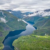 Stunning Aerial Panorama of the beautiful Evangervatnet Fjord, Norway. Converted from RAW.