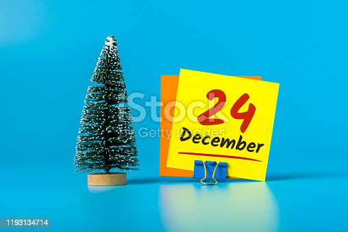 istock Eve. December 24th. Image 24 day of december month, calendar with christmas tree. Marry Christmas 1193134714