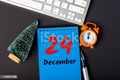 istock Eve. December 24th. Image 24 day of december month, calendar with christmas tree. Marry Christmas 1193357069