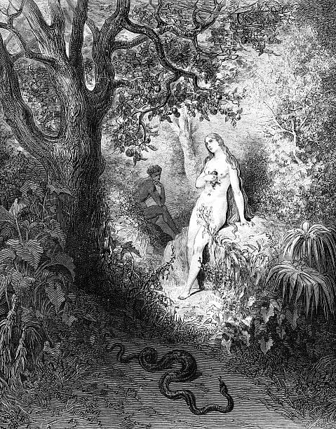 eve seduzido pela snake - jardim do eden - fotografias e filmes do acervo
