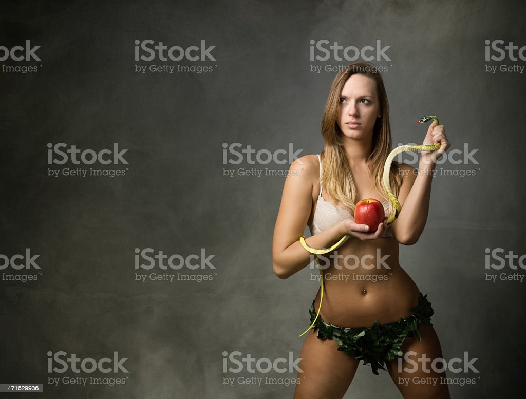 eve with snake and apple stock photo