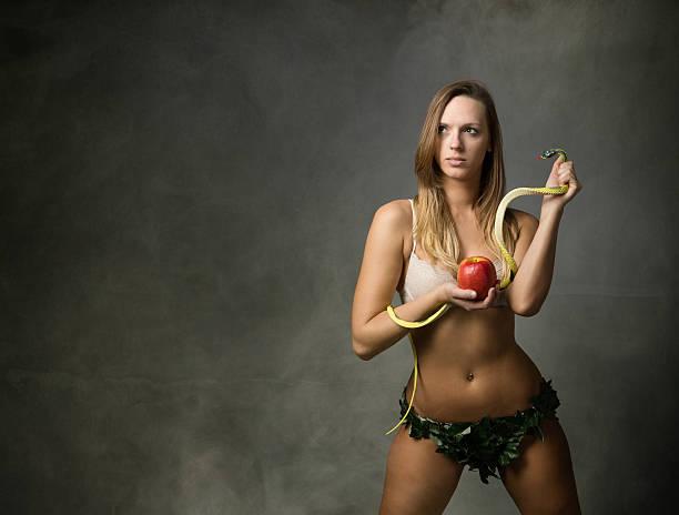 eve mit Schlange und apple – Foto