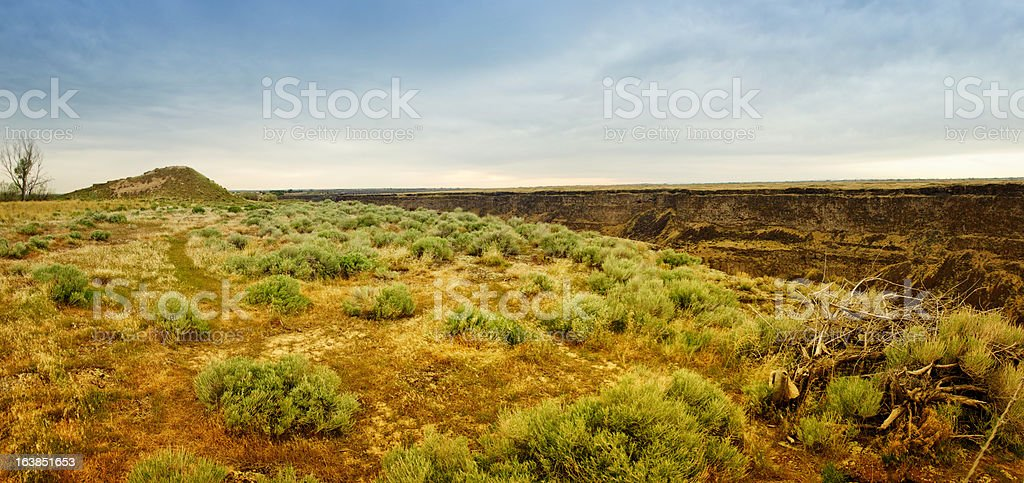 Evel Knievel Jump Site at Snake River Canyon Panoramic stock photo