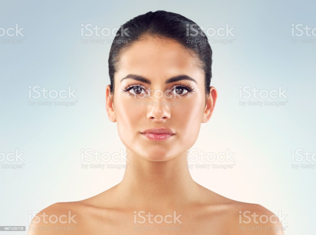 Even and clear skin tone in focus stock photo