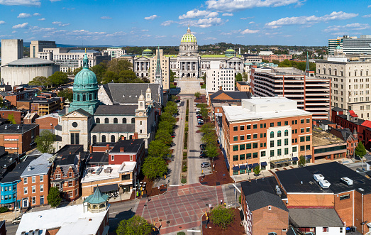 May 3, 2020 - Harrisburg, Pennsylvania: Even on the warm sunny spring weekend, the streets and parks of the city are empty because of the