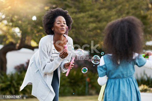Shot of a mother and her little daughter playing with bubbles together outdoors