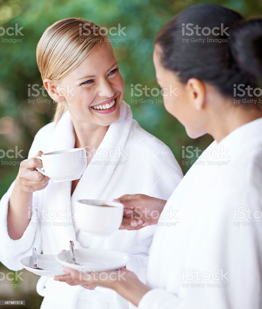 Even the coffee is relaxing! stock photo