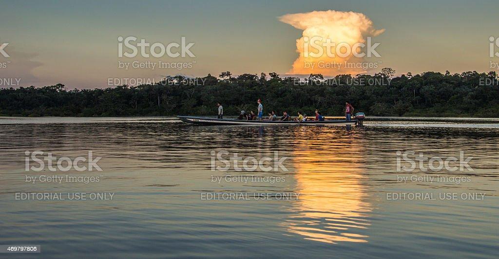 Evenign sulla laguna Grande in Riserva Naturale di Cuyabeno. - foto stock