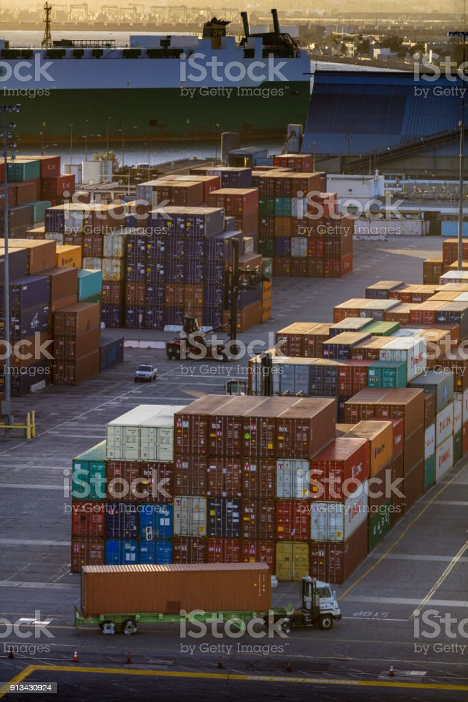 Evening Activity In Intermodal Container Yard Stock Photo